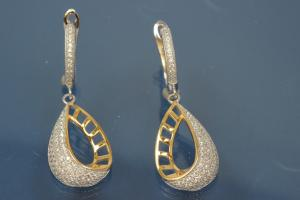 Earring with leverback 925/- silver approx sizes H 39,0mm incl. with security leverback, B 13,5mm rhodium plated / partially gold plated with Zirconia.