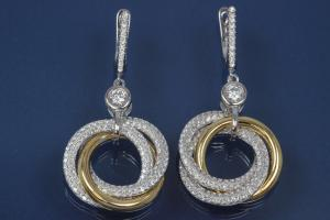 Earring with Rings 925/- silver approx sizes H 46mm, B 22mm rhodium plated / partially gold plated with Zirconia with security leverback