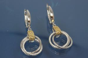 Earring with Rings 925/- silver approx sizes H 37,5mm, B 18mm rhodium plated / partially gold plated with Zirconia with security leverback